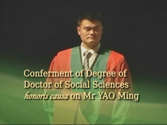 Conferment of the Honorary Degree upon Mr YAO Ming