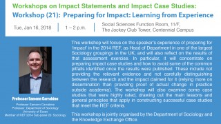 Impact Workshop (21): Preparing for Impact: Learning from Experience