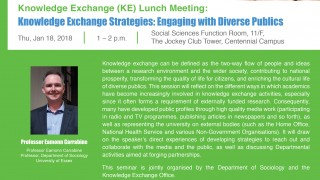 KE Lunch Meeting: Knowledge Exchange Strategies: Engaging with Diverse Publics