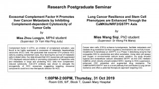 Research Postgraduate Seminar on 31 Oct (1 pm)